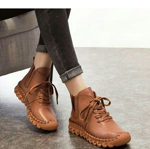 Ankle Boots- Full Grain Leather Flat Boots